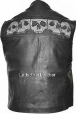 Buy MENS BIKER Black PREMIUM Leather ZIP Motorcycle CLUB Vest REFLECTIVE SKULLS