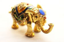 Buy Blue Elephant enamelled and Diamante encrusted hinged trinket box / pill Box