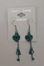 Buy Women Earrings Green Hearts Key Lock Rhinestones Fashion Drop Dangle Hook Fasten