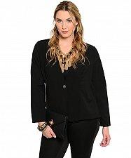 Buy Womens Blazer PLUS SIZE 1X 2X Black Animal Print Long Sleeves Button STYLE OUT