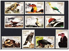 Buy Zaire Birds, 1982, MNH(**), Michel# 792-801 Bird Thematic Set Mnh Stamps