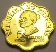 Buy Philippines 1976 5 Sentimos Proof~Rare 9,901 Minted~Scalloped~Free Shipping