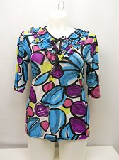 Buy SIZE 1XL Women Knit Top Ruffled Scoop Neck Multi Color Geometric Neck ¾ Sleeves