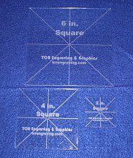 """Buy 3 Pc Square Set 2,4,6 - 1/8"""" Clear Acrylic - Quilting Templates- No seam"""