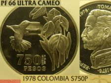 Buy Colombia 1978 750 Pesos~Conservation~Hummingbird~NGC Proof-66 UC~3,100 Minted~FS