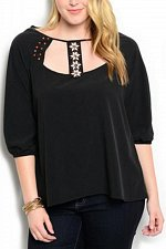 Buy PLUS SIZE 1X 2X 3X Womens Top WAPI Solid Black Beaded Embellished Neck ¾ Sleeves
