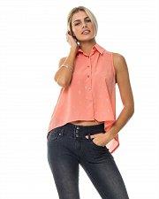 Buy Women Shirt Sheer Button Coral Cross Print SIZE L Collared Neck Sleeveless Hi-Lo