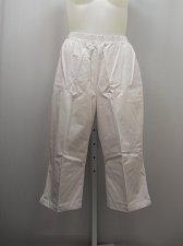 Buy PLUS SIZE 22W Women Cotton Capris Solid White Side Pockets Inseam 20 Elastic