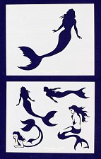 Buy Mermaid Stencils-2 pc Set-14 Mil Mylar- Painting/Crafts/Template
