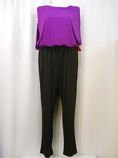Buy Jumpsuit PLUS SIZE 20W ENFOCUS Black Purple Boat Neck Sleeveless Straight Legs