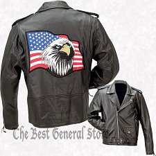 Buy Black Solid Leather Motorcycle Jacket size XL Coat with American Eagle US Flag