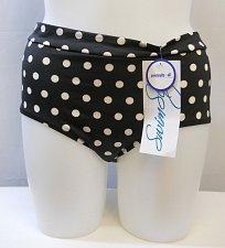 Buy SIZE 18 Women Low Rise Bikini Bottom SHORE CLUB Black Polka Dot Fully Lined