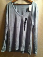 Buy Women`s Banana Republic V-Neck Long Sleeve Timeless Tee XL Pastel Turquoise NWT