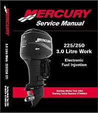 Buy Mercury Model 3 Liter Work / 225 EFI / 250 EFI Outboards Service Manual on a CD