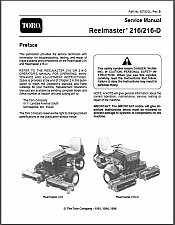 Buy TORO Reelmaster 216 / 216-D Riding Mower Service Manual on a CD