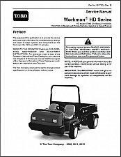Buy TORO Workman HD, HDX and HDX- D UTV Utility Vehicles Service Manual on a CD