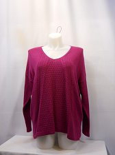 Buy Women Sweater STYLE&CO Size XL Solid Pink V-Neck Long Sleeves Medium Knit