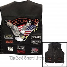 Buy Black Solid Leather Motorcycle Vest with 14 Patches Biker Waistcoat Side Laces
