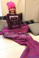 Buy Knitted mermaid tail blanket stunning gift idea for kids & adults luxury magenta