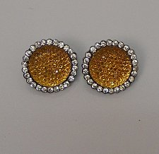 Buy Women Fashion Earrings Huggies Rhinestones Gold Tones Clip On Fasteners Unbrande