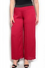 Buy PLUS SIZE 1XL 2XL 3XL Womens Wide Legs Pants ANGELA Sheer Dark Red Inseam 30