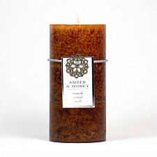 Buy :10665U - Amber & Honey Scented Brown Tri-color Paraffin Wax 3x6 Pillar Candle