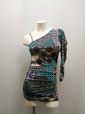 Buy SIZE M Womens Dress BACCI Paisley Ruched Cold Shoulder W Strap Clubwear Holiday