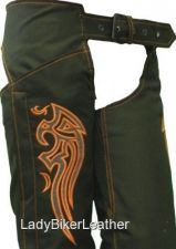 Buy Vegan Biker CANVAS Motorcycle Chaps ORANGE PINK RED or PURPLE Embroidered WING