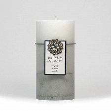 Buy :10663U - Creamy Coconut Scented Gray Tri-color Paraffin Wax 3x6 Pillar Candle