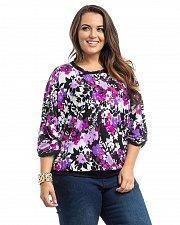 Buy Women Top PLUS SIZE 1X Takuni Floral Scoop Neck Dolman Tab Sleeves Lace Trim