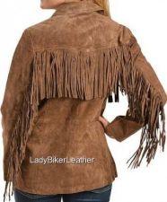 Buy Ladies BOHO Hippie Biker CINNAMON Premium SUEDE Leather Fringe WESTERN Jacket