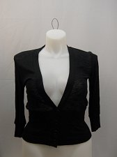 Buy Womens Thin Knit Sweater Size XL ICY Black 3/4 Sleeves Button Closure Y-Neck
