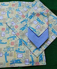 Buy Childs placemat napkin set airplanes airmail print handmade cotton