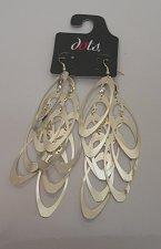 Buy Women Earrings Metal Oblong Silver Tones Hook Fasteners DOTS Fashion Drop Dangle