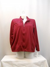 Buy Women Athletic Jacket Plus Size 20W ALFRED DUNNER Solid Berry Long Sleeve Collar