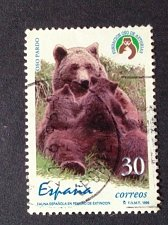 Buy Spain 1 v used stamp 1996 Endangered Wildlife: Brown Bear and cubs mi 3263