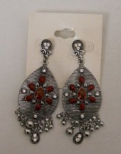 Buy Women Earrings Red Beads Silver Tones Rhinestones Fashion Drop Dangle Push Back