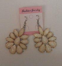 Buy Women Drop Dangle Fashion Earrings Beige Flowers FASHION JEWELRY Silver Hook