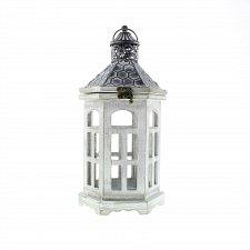 Buy *16905U - Hexagon Pattern Top Gray Wood Candle Lantern
