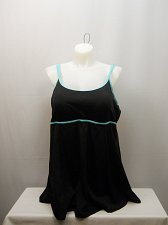 Buy SIZE 22 Women 1PC Swimdress BEACH BELLE Black Mint Double Lingerie Strap Scoop N