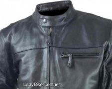 Buy Mens VENTED Black NAKED Leather CONCEALED CARRY Motorcycle RACER Jacket INSERTS