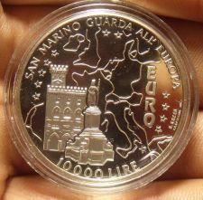 Buy San Marino 1996 10,000 Lire Silver Proof~Guarda All Europa~Parliament Building~