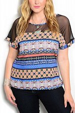 Buy Womens Tunic Top SIZE 1XL 2XL 3XL Blue Multi Print Mesh Yokes Kimono Sleeves