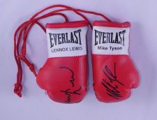 Buy Autographed Mini Boxing Gloves Mike Tyson V Lennox Lewis