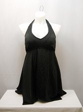 Buy SIZE 16 Women 2PC Handkerchief Halter Swimdress TROPICULTURE Solid Black V-Neck