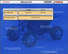 Buy 04-08 Yamaha YFZ450 ATV Service Repair Manual CD - YFZ450S English & French
