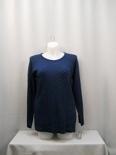 Buy Women Tunic Sweater NY COLLECTION Solid Blue SIZE XL Long Sleeves Scoop Neck