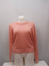 Buy Womens Sweater Solid Pink SIZE L Long Sleeves SALON STUDIO Crewneck Pullover