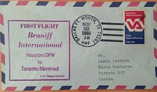 Buy usa 1980 First flight cover from Houston to Montreal Branif Airlines