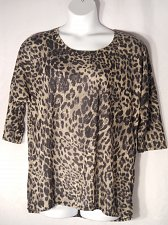 Buy Womens Tunic Top SIZE 14 16 Animal Print Scoop Neck 3/4 Sleeves Pullover